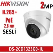 Hikvision DS-2CD1323G0-IU 2MP 2.8mm IP Dome Kamera Mikrofonlu
