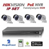 4 KAMERALI HIKVISION 2MP IP POE NVR LI SET