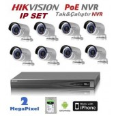 8 KAMERALI HIKVISION 2MP IP POE NVR LI SET