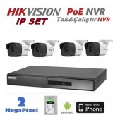 4 KAMERALI 2MP HIKVISION IP POE NVR LI SET