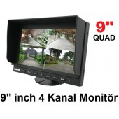9 inch 4 Kanal LCD Quad Monitor