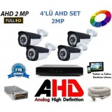 4 Kameralı 2Mp AHD FullHD Set 3,6mm