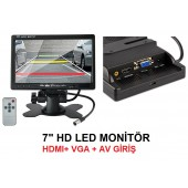 "7"" İNC HD LED HDMI, VGA, AV ARAÇ İÇİ MONİTÖR"