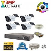 4 Kameralı 3Mp UltraHD 63 LED AHD Kamera Sistemi