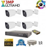 4 Kameralı 3Mp AHD UltraHD Set 40-50MT.