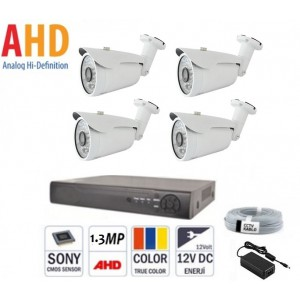 4 Kameralı 1.3 MP 48 Led AHD Kamera Sistemi