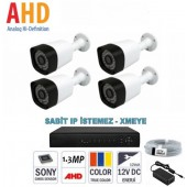 4 Kameralı 1.3 Mp AHD Kamera Sistemi 3,6mm
