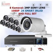 8 Kameralı 3MP Sony Lens 1080p AHD Ful Set