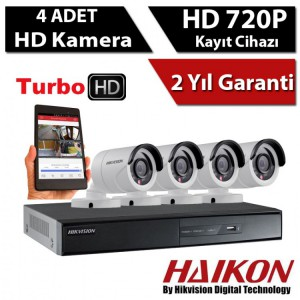 4 KAMERALI HAIKON HD 1MP 720P KAMERA GÜVENLİK SİSTEMİ