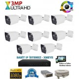 8 Kameralı 3Mp AHD ULTRAHD Set 40-50MT.