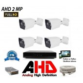 4 Kameralı 2Mp AHD FullHD Set 40-50MT.