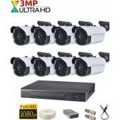 8 KAMERALI 3MP 63LED AHD KAMERA SİSTEMİ
