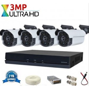 Yeni 3 Mp 63 LED UltraHD AHD Kamera Sistemi