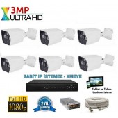 6 Kameralı 3Mp AHD UltraHD Set 40-50MT.